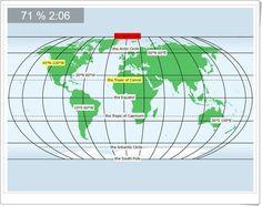"""""""World: Latitudes and longitudes"""" es un juego, de sesterra.net, en el que, junto al puntero del ratón, se nos indica el punto a localizar en el planisferio terrestre: sean puntos determinados por su latitud y longitud, sean líneas imaginarias de la Tierra."""
