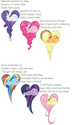 Wow very descriptive,I just call them rarity,pinkiepie,applejack,rainbowdash, twilightsparkle,and the awesome fluttershy
