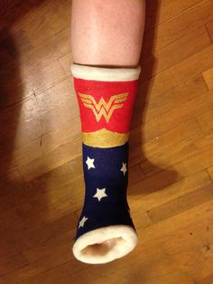 Wonder Woman leg cast, made by  my niece Jennifer, who is a wonder of a woman herself !
