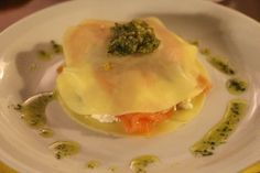 Open lasagne met gerookte zalm, ricotta en pesto - Avocado van de Duivel !
