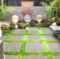 Zen Patio - pavers planted with grass