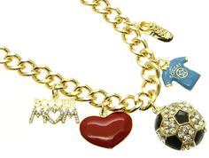 NECKLACE / SPORT / LINK / METAL CHAIN / CRYSTAL STONE / EPOXY / SOCCER / SOCCER MOM / 1 3/4 INCH DROP / 16 INCH LONG / NICKEL AND LEAD COMPLIANT