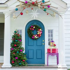 Front porch with Christmas decorations.