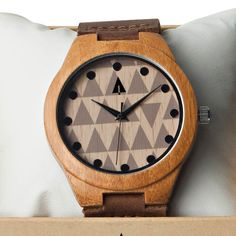 Tree Hut Bamboo Leather Watch | This Mod design is encased in bamboo wood and  has a genuine brown leather band with red or brown stitching and is handmade in San Francisco. Unique geometric and mod backdrop for the classic, yet fun, man. Personalized engravings available.
