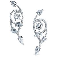 Fabergé Cascade de Fleurs Earrings    This piece is set in 18 carat white gold and features 168 white diamonds totalling 13.9 carats.