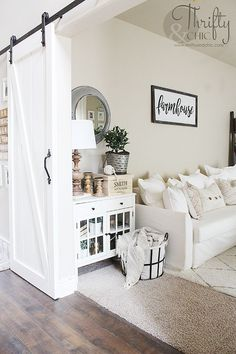 White and neutral cottage farmhouse living room decor and decorating ideas. Fixer upper style living room Dekor Wohnzimmer Summer Home Tour 2017 Living Room Remodel, Home Living Room, Living Room Designs, Living Area, Living Room Ideas Tan Walls, Rv Living, Living Room Renovation Ideas, White Living Room Furniture, Neutral Living Rooms