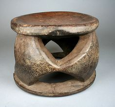 Stool: Openwork Base Date: 19th–20th century Geography: Democratic Republic of the Congo Culture: Democratic Republic of Congo Medium: Wood Dimensions: H. 7 3/4 x . 11 1/2 in. (19.7 x 29.2 cm) Classification: Wood-Furniture
