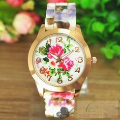Fashiontrends4everybody: Flower Design Rose Gold Szilikon Szíjas Női karóra