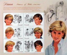 "Princess Diana ""Humanity"" Plate Block of 6 Stamps Issued by Grenada, Diana - Princess of Wales 1961 - 1997."
