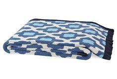 Plaza Cotton-Blend Throw, Blue | Backyard Bonfire | One Kings Lane LOVE for throw blanket at the edge of our bed!