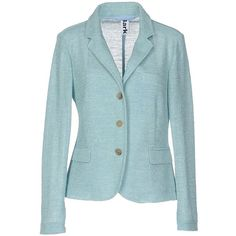 Bark Blazer (565 BRL) ❤ liked on Polyvore featuring outerwear, jackets, blazers, turquoise, long sleeve jacket, three button blazer, single breasted jacket, flap pocket jacket and blue blazer jacket
