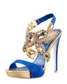 X1HER Rene Caovilla Jeweled Ankle-Wrap Platform Sandal