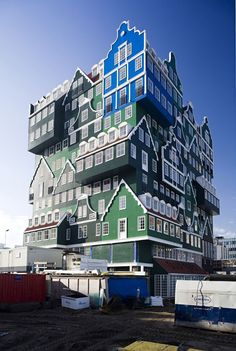 The show-stopping Inntel Hotel Zaandam comprises 70 traditional Dutch houses stacked on top of each other.
