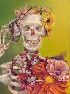 Skull - Iva Morris Painting - Hear No Evil Crane, Day Of The Dead Skull, Danse Macabre, Vanitas, Halloween Skull, Gothic Art, Skull And Bones, Memento Mori, Skull Art