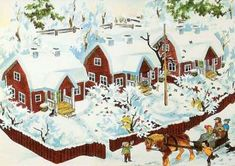 Winter scene from Christmas in Noisy Village (Jul i Bullerbyn). Story by Astrid Lindgren, illustrated by Ilon Wikland. Swedish Christmas, Christmas Art, Vintage Christmas, Christmas Pictures, Christmas Illustration, Children's Book Illustration, Poster Shop, Pippi Longstocking, Retro Images