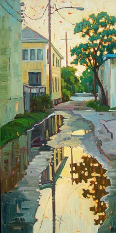 chasingtailfeathers:  René Wiley  -  Reflections in The Alley, 2012 Oil on Canvas, 36 x 18