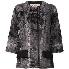 Marni lamb fur jacket ($13,715) ❤ liked on Polyvore featuring outerwear, jackets, grey, marni, marni jacket, grey fur jacket, 3/4 sleeve jacket and grey jacket