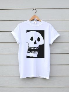 Skull Tee In White, By Ben Prints On Etsy