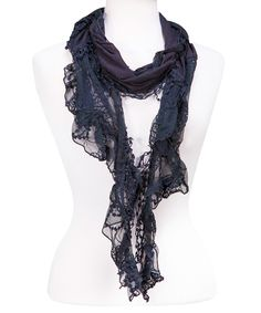 Look at this Black Lace Ruffle Scarf on #zulily today!
