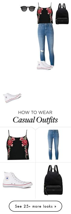 """Casual but cute"" by faithkirkley on Polyvore featuring Boohoo, J Brand, Converse, Radley and Monokel"