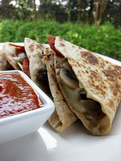 pizza-dillas, using low fat cheese and turkey sausage/tortillas