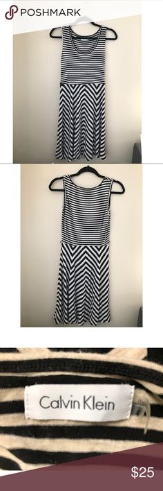 Calvin Klein Sundress Size 4 Calvin Klein striped sundress! Flattering striped design. Belt loops on waist. Original belt is missing but could be paired with any cute, skinny black belt! Stretchy, comfortable fit. Calvin Klein Dresses