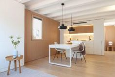 Spanish-German architectural design firm YLAB Arquitectos has sent us their latest project - a mini apartment in Gracia district, Barcelona Farmhouse Side Table, Minimalist Apartment, Home Upgrades, Farmhouse Design, Small Apartments, Decoration, New Homes, Room Decor, Furniture