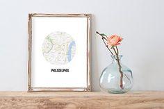 Philadelphia Map Modern Home Print   8 x 10   Wall Decor