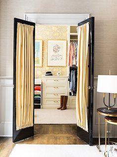 Peeking Into Designer's Homes Fine Paints Of Europe, Dressing Room Closet, Dressing Rooms, Built In Dresser, Art Deco Chair, Beautiful Closets, Master Bedroom Closet, Bedroom Doors, Walk In Closet