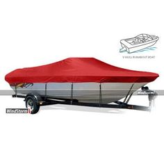"Eevelle WindStorm Watercraft Cover Beam Width x Centerline: 80"" x 198"", Color: Red"