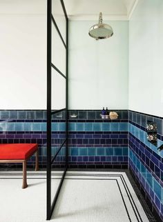 A Walk In Shower with Blue White Tiles from Waldo Works. Walk In Shower Blue White Tiles. A wet-room-style shower. White Tiles, Blue Tiles, Wet Rooms, Small Bathroom, Bathroom Ideas, Shower Bathroom, Shower Doors, Bathroom Designs, Shower Tiles
