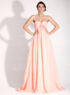 Empire-Linie One-Shoulder-Träger Pinsel Schleppe Chiffon Festliche Kleid mit Rüschen Perlen verziert Applikationen (020016072)