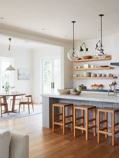 gorgeous wood tones in this colonial farmhouse kitchen | house tour on coco kelley