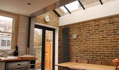 I like the vertical radiator and french doors-Green Tea Architects Side Return Extension, Rear Extension, Extension Google, Extension Designs, Extension Ideas, Interior And Exterior, Interior Design, Exterior Colors, Cocinas Kitchen