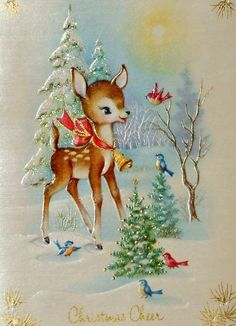 Christmas deer with Christmas cheer Vintage Christmas Images, Christmas Scenes, Christmas Cards To Make, Christmas Deer, Retro Christmas, Vintage Holiday, Christmas Pictures, Christmas Greetings, Christmas Holidays