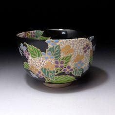 MA8: Japanese Tea Bowl of Kyo Ware by Famous potter, Eika Miyaji, Hydrangea | eBay