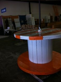 Go Vols!!! out door table made from a cable spool! AWESOME