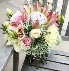 King protea wedding bouquet flowers by green goddess flower studio Protea Wedding, Winter Wedding Flowers, Bridal Flowers, Flower Bouquet Wedding, Fall Wedding, Wedding Ceremony, Rustic Wedding, Protea Bouquet, Protea Flower