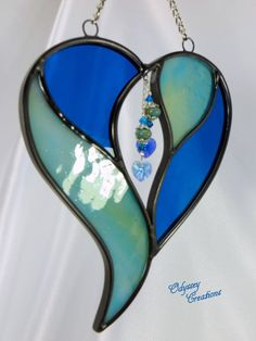 Two Hearts in One by the Sea   Aqua and Blue by OdysseyCreations, $21.95