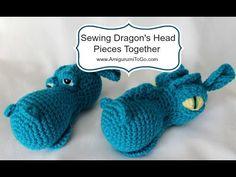 Fierce or Sleepy Dragon Part Three ~ Assembly ~ Amigurumi To Go Crochet Dragon Pattern, Crochet Hippo, Crochet Dinosaur, Crochet Teddy, Crochet Animal Patterns, Stuffed Animal Patterns, Crochet Patterns Amigurumi, Crochet Animals, Crochet Dolls