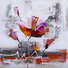 peinture toile fleur orange abstraite