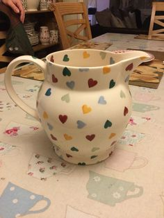 Unpersonalised Polka Hearts 6 Pint Jug (Discontinued August 2015) Emma Bridgewater, Cath Kidston, Dinnerware, Tea Party, Dresser, Hearts, Pottery, Hand Painted, Ceramics