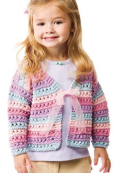 Knitting Pattern for Lacy Stripe Cardigan in Baby through Adult Sizes - In sizes from baby to adult, this sweater is fast and easy. Knit in 4 colors in an alternating lace pattern with a simple ribbon-tie at the chest. Sizes: Baby to Women's 4XL.