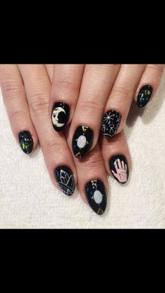 Beautiful nail art designs that are just too cute to resist. It's time to try out something new with your nail art. Ffa, Trendy Nails, Cute Nails, Gypsy Nails, Hair And Nails, My Nails, Opal Nails, Shiny Nails, Witchy Nails