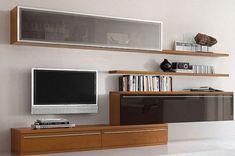 Siyah ahşap modern tasarımlı çok şık tv ünitesi modeli