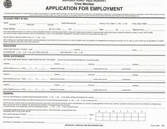 Printable Job Application Templates | Free Printable Employment ...