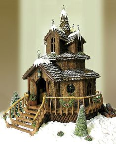 Fairy Cottage Gingerbread house ~completely edible with candy furniture inside! Christmas Gingerbread House, Noel Christmas, Christmas Cookies, Gingerbread Houses, Xmas, Gingerbread House Designs, Miniature Christmas, Pretty Cakes, Beautiful Cakes