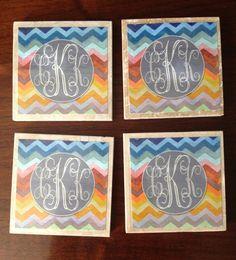 Monogrammed Coasters: Multicolor chevron