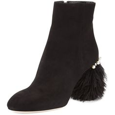 Miu Miu Suede Feather-Heel Ankle Boot ($990) ❤ liked on Polyvore featuring shoes, boots, ankle booties, black, black ankle booties, black suede boots, suede bootie, black suede booties and short black boots