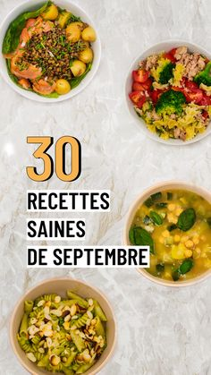 30 recette saines de septembre 1 day, 1 healthy recipe balanced and very easy to achieve. Salad Recipes Healthy Lunch, Healthy Eating Tips, Healthy Salad Recipes, Healthy Breakfast Recipes, Easy Chicken Recipes, Meat Recipes, Batch Cooking, Meals, Food